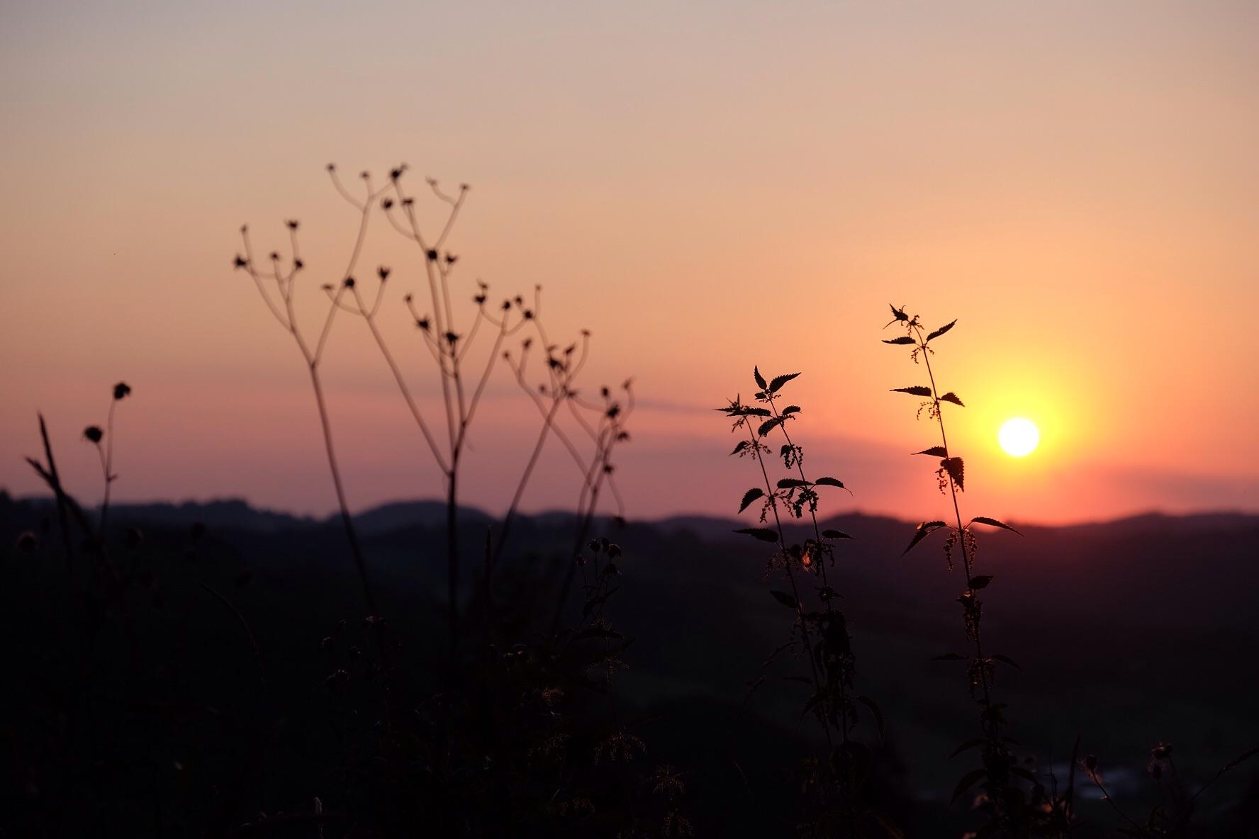 Le soleil se couche sur les collines