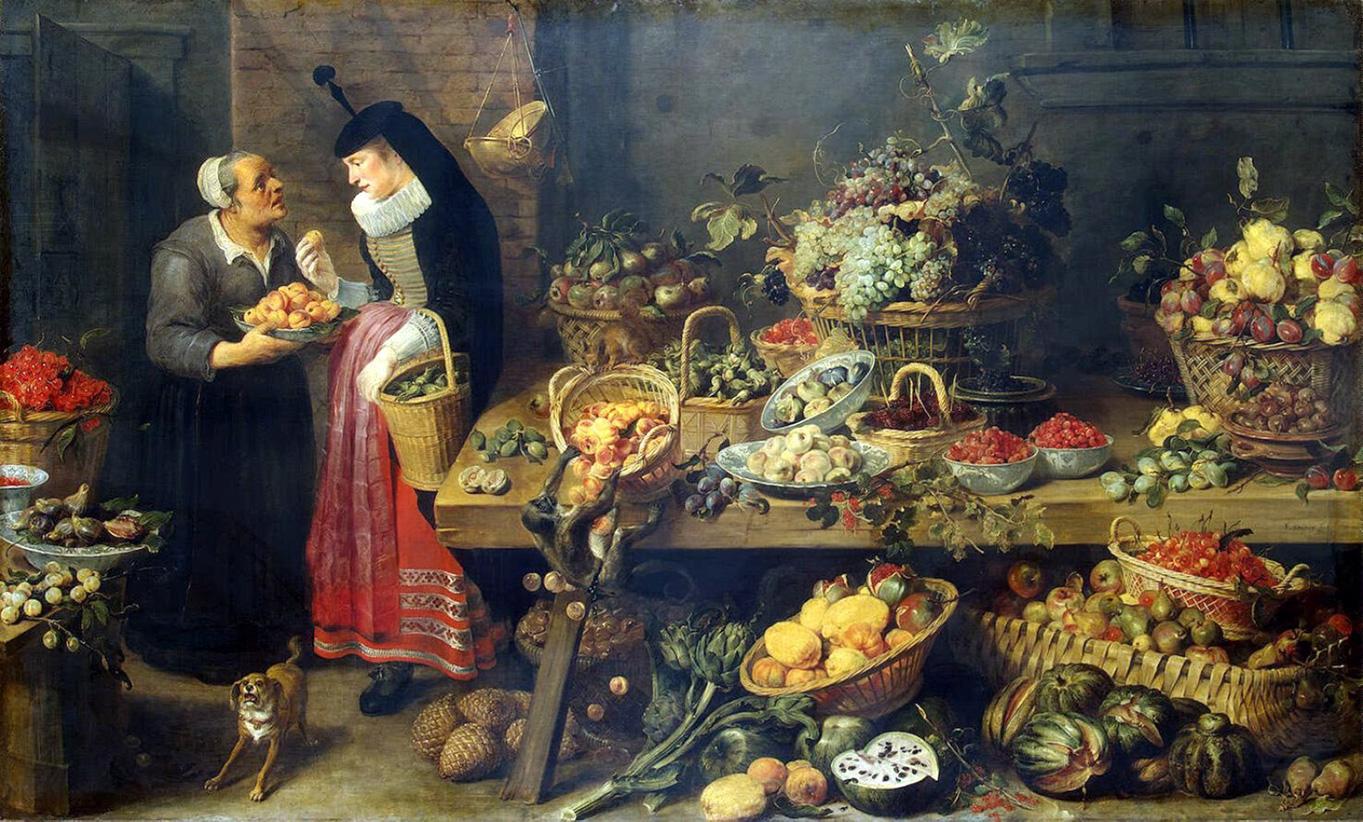 ↑Франс Снейдерс «Фруктовая Лавка», 1579