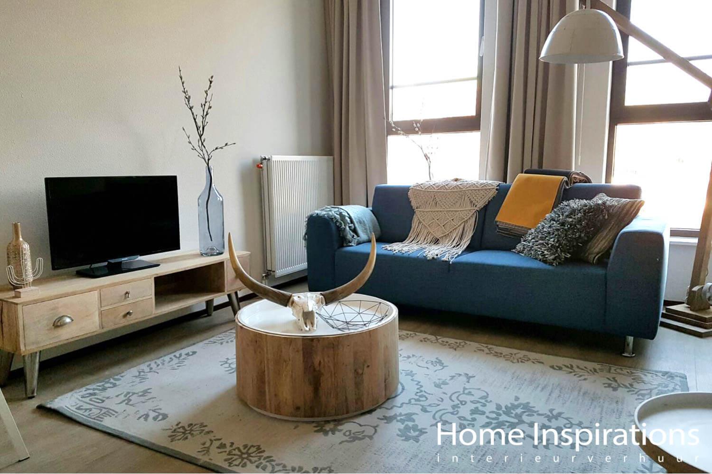 Vintage inrichting woonkamer klein appartement