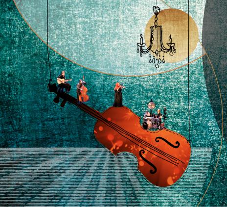 Martina Eisenreich Quartet (Collage). Fotography by Mike Meyer, Artwork by Agentur ais.