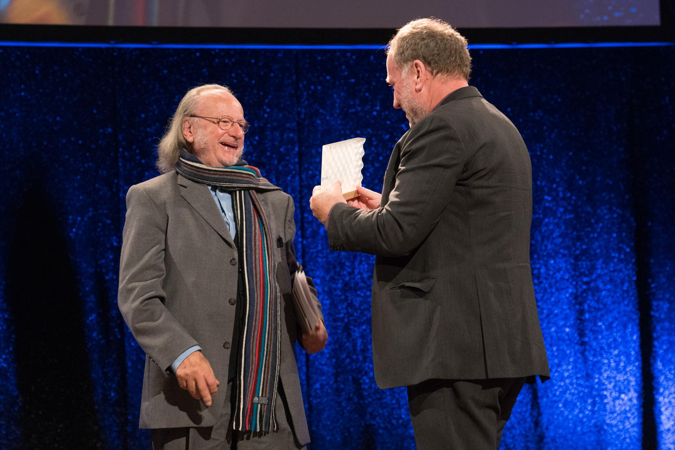 Peter Gotthardt (Ehrenpreisträger 2018) und Harold Faltermeyer (Ehrenpreisträger 2017). Foto:  deutscherfilmmusikpreis.de , ©Joachim Blobel