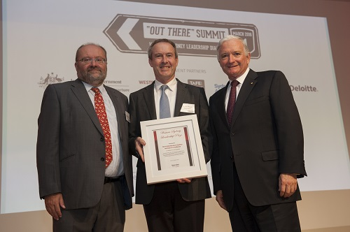 WSLD PATROn Nick Greiner (right) Presents the Productive Partnerships Award to TAFE NSW WSI's Robin Shreeve (left) and Lendlease's Andrew Wilson (centre)