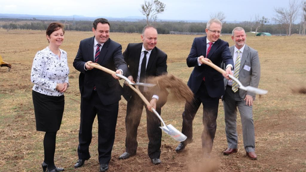 Breaking ground at the Sydney Science Park with Minister for Transport & Infrastructure, Paul Fletcher, Minister for Western Sydney, Stuart Ayres and John Vassallo, CEO of Celestino