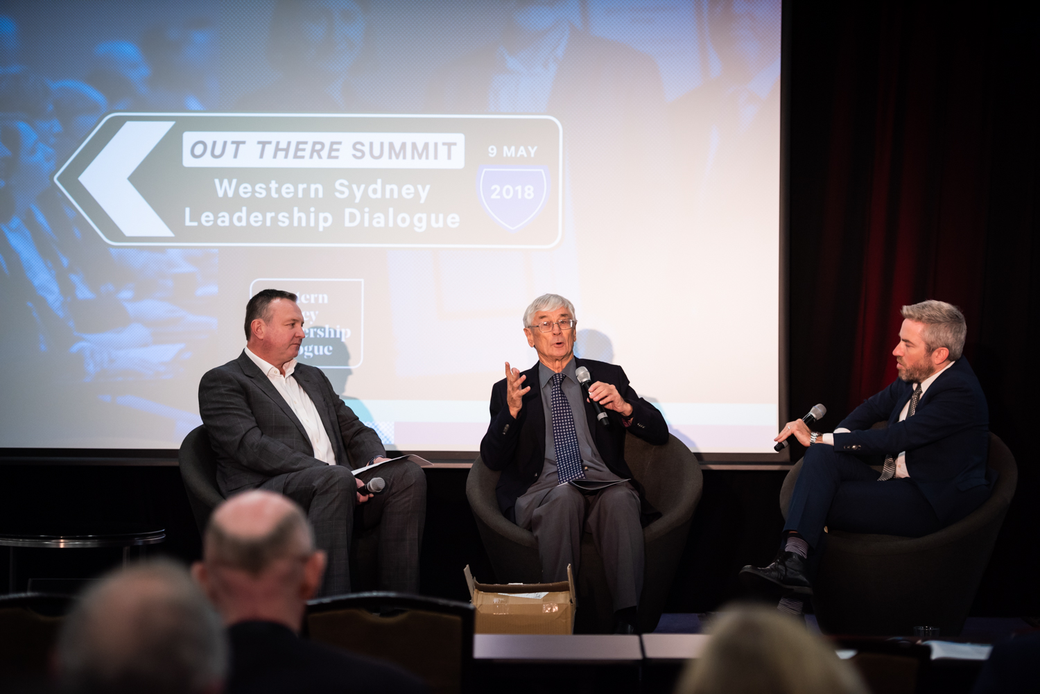 Sydney Business Chambers' David Borger and population provocateur Dick Smith ac with Dr Andy Marks (WSU) at the 2018 Out There Summit