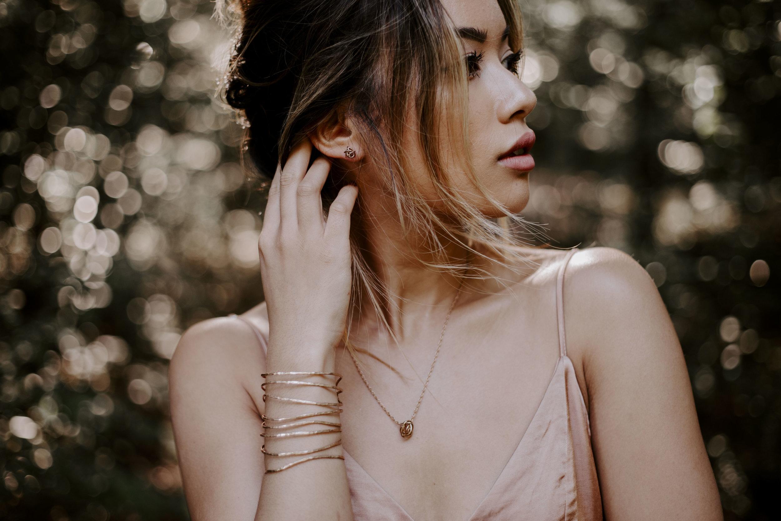 Bronze knot earrings & necklace, bronze linear cuff