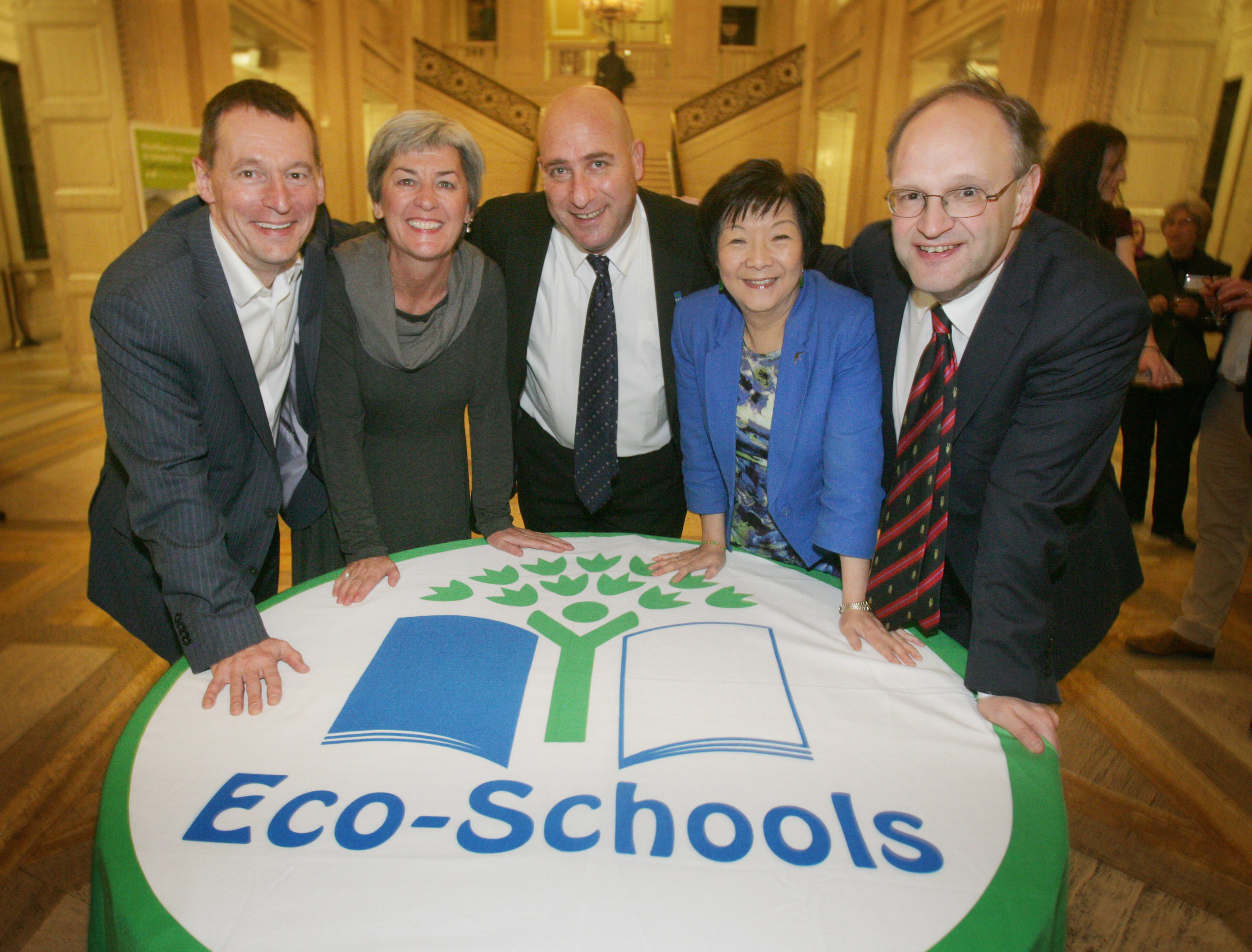 Pictured from left to right are Dr Ian Humphreys, CEO Keep Northern Ireland Beautiful; Bríd Conneely, International Director of Eco-Schools; Daniel Schaffer, CEO Foundation for Environmental Education; Anna Lo MLA, Chair of the Environment Committee; and David Weir MLA, Chair of the Education Committee.