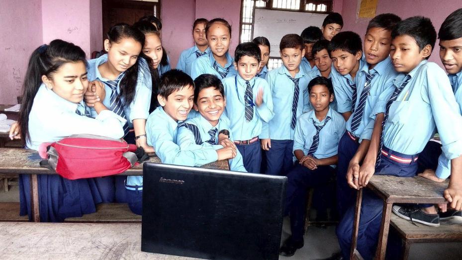 Children at Shree Tika Vidyashram School learning about reducing waste.