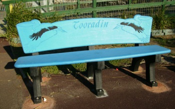park bench made from recycled soft plastics
