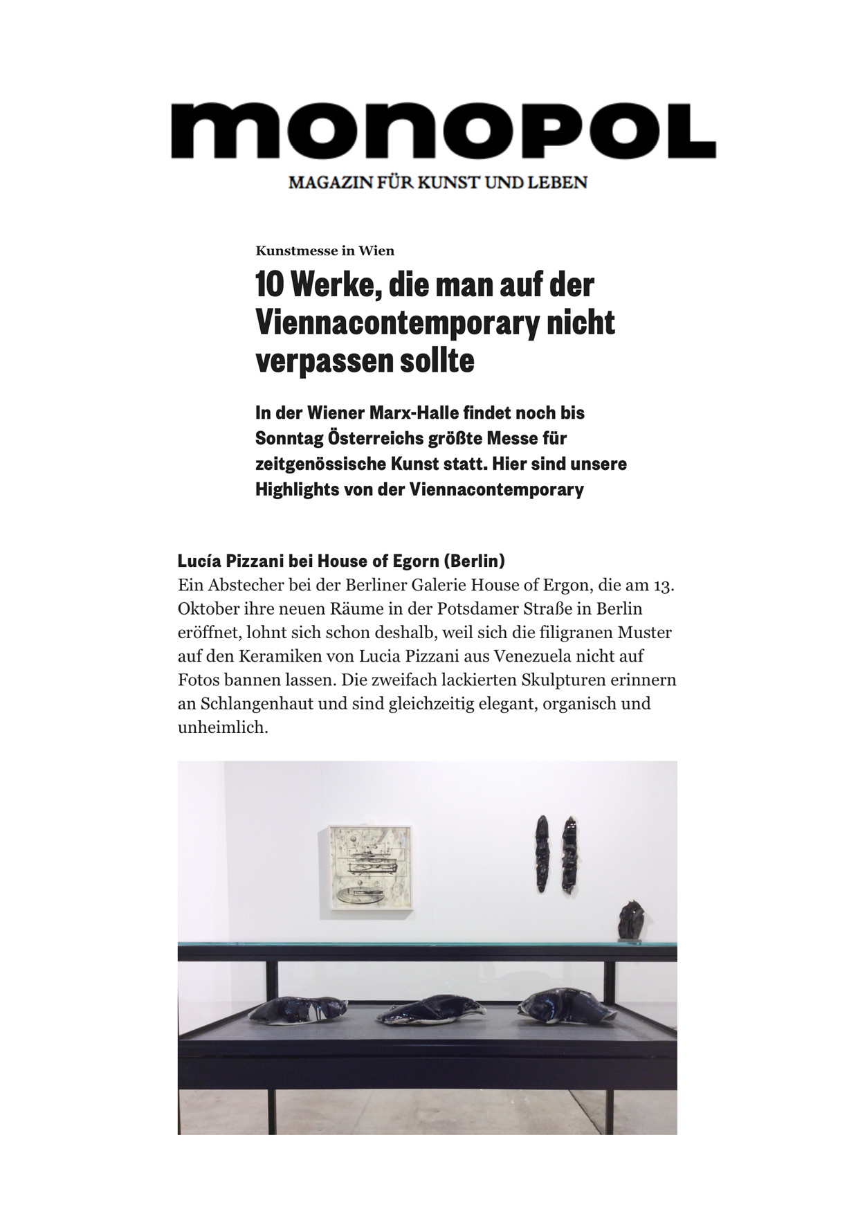 Picked by  Monopol  as one of the 10 best of the Vienna Contemporary!