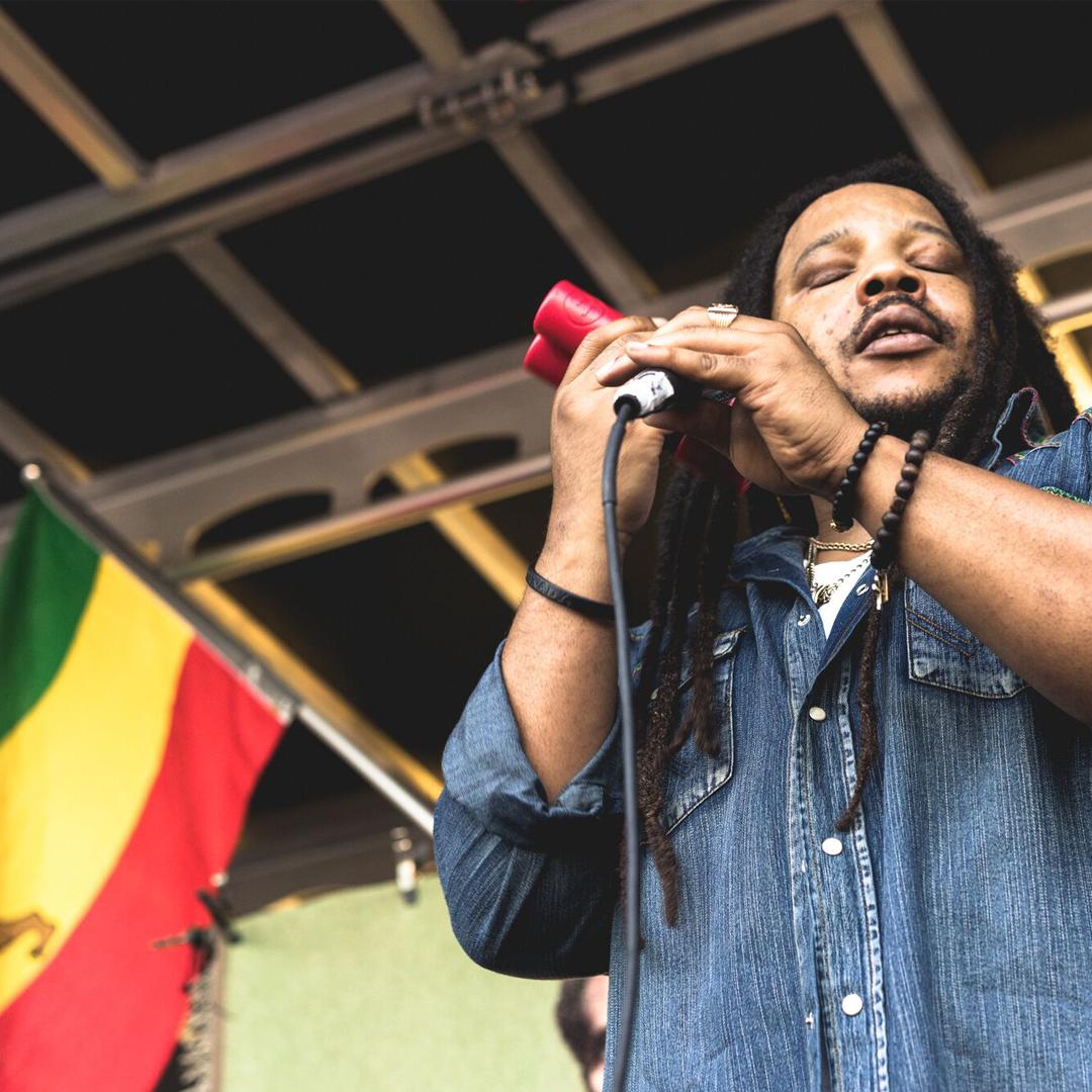 "Stephen ""Ragga"" Marley in an Enbois Bead Stack Courtesy of  @radiantsun9"