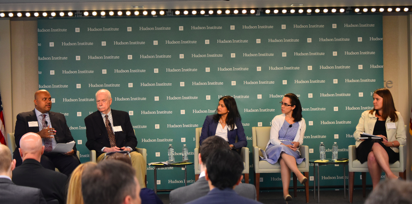 (From Left to Right:) Arun Venkataraman (U.S Dept. of Commerce, Intl. Trade Administration), Jeremiah Norris   (Hudson Institute, Center for Science in Public Policy), Neena Shenai (Medtronic), and Leticia Santos (BSA) discussing multilateral trade pacts and Indian trade, with Ashley Mergen Moderating.