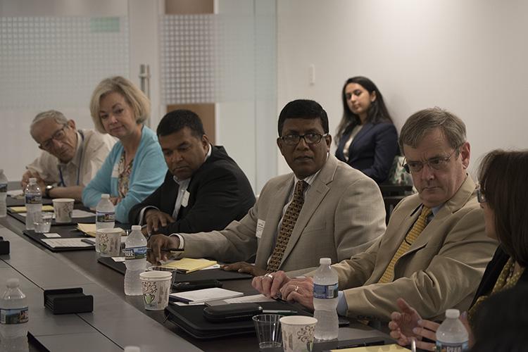From left to right: Stephen Cohen, Carmela Conroy, Satu Limaye,Brig Gen Mohammad Shamsuzzaman, Col John Gill, and Lisa Curtis.