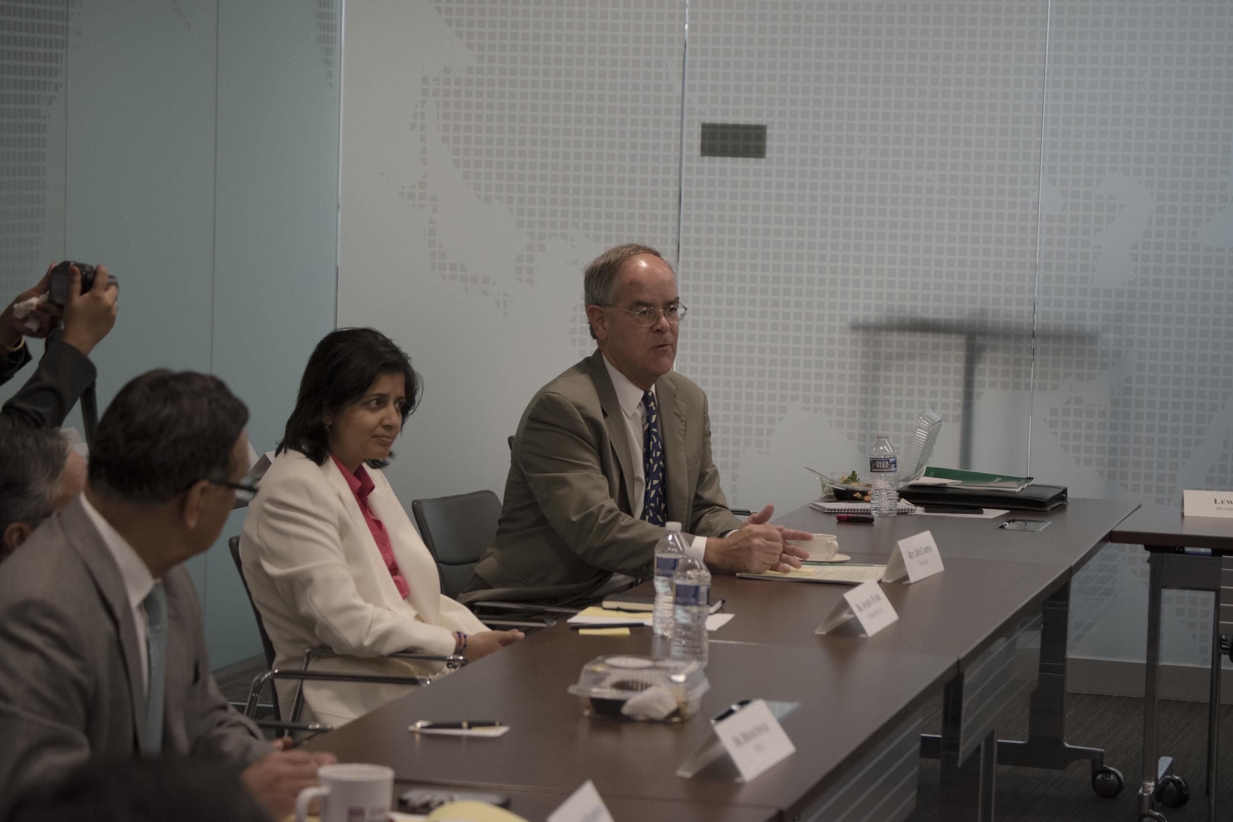 L-R: Ambassador Husain Haqqani, Dr. Aparna Pande, Congressman Jim Cooper