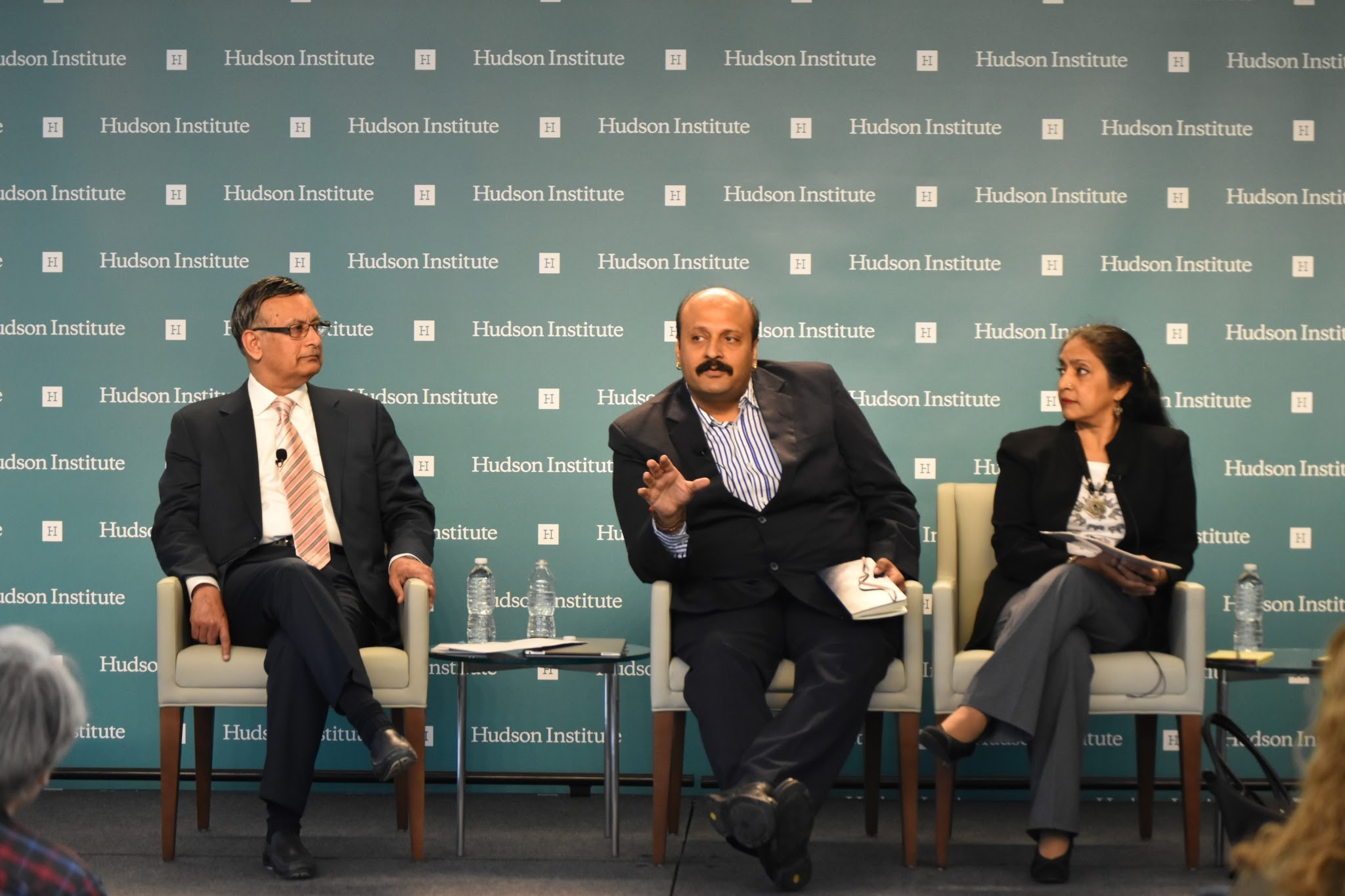 (From left to right: Ambassador Husain Haqqani, Dr. Amit Kapoor, and Ms. Ranjana Smetacek. Panel One observed a discussion on the status quo of India's healthcare and innovation sectors.)