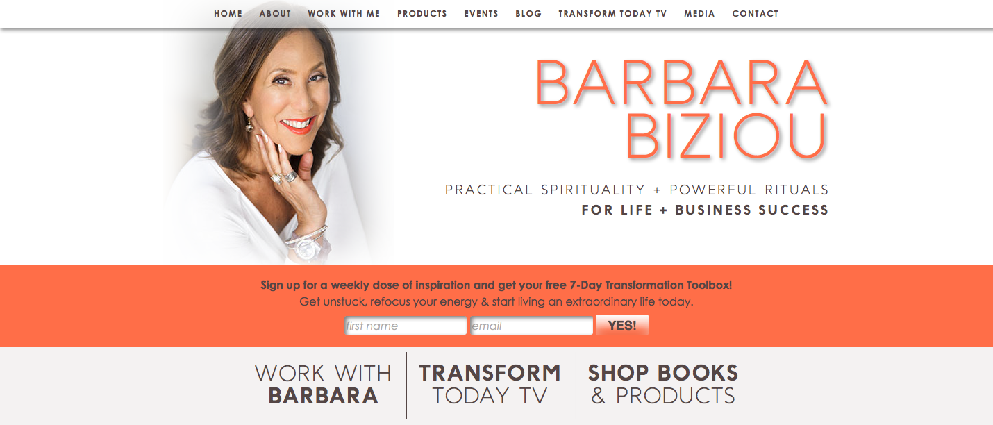 I was head of the re-brand team for http://barbarabiziou.com, working closely with identity & graphic designer Natasha Lakos & web builder Kate Moore to create a new brand identity, website & e-commerce shop for Barbara Biziou, Inc.. I also created the content and strategy for her 'Free Transformation Toolbox' which has served to steadily increase her following each month as well as several social media marketing initiatives to promote the new website and her signature Vision program, including a 12 day intention ritual delivered daily to your inbox for the new year.
