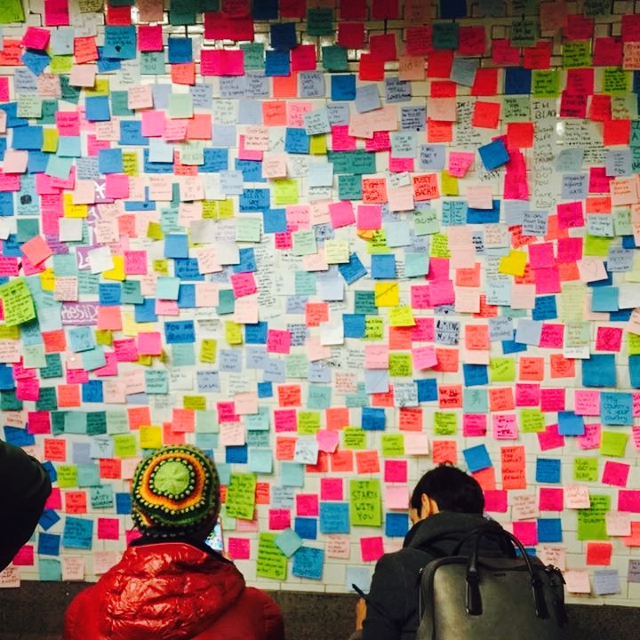 Subway therapy in NYC, A Wall of love, art & inspiration
