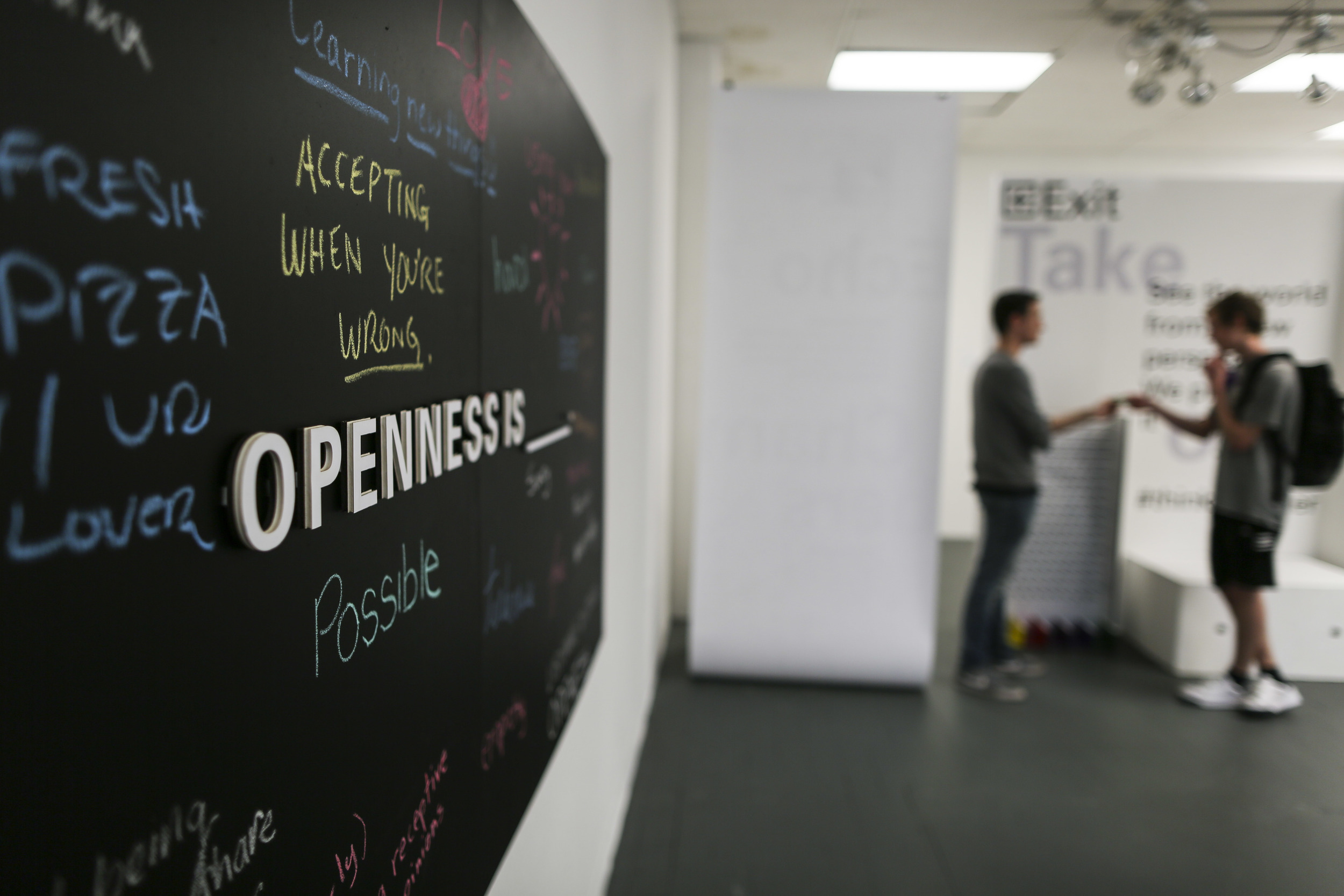 Openness Is Only The Beginning  - MDF board, chalkboard paint & laser cut foamcore