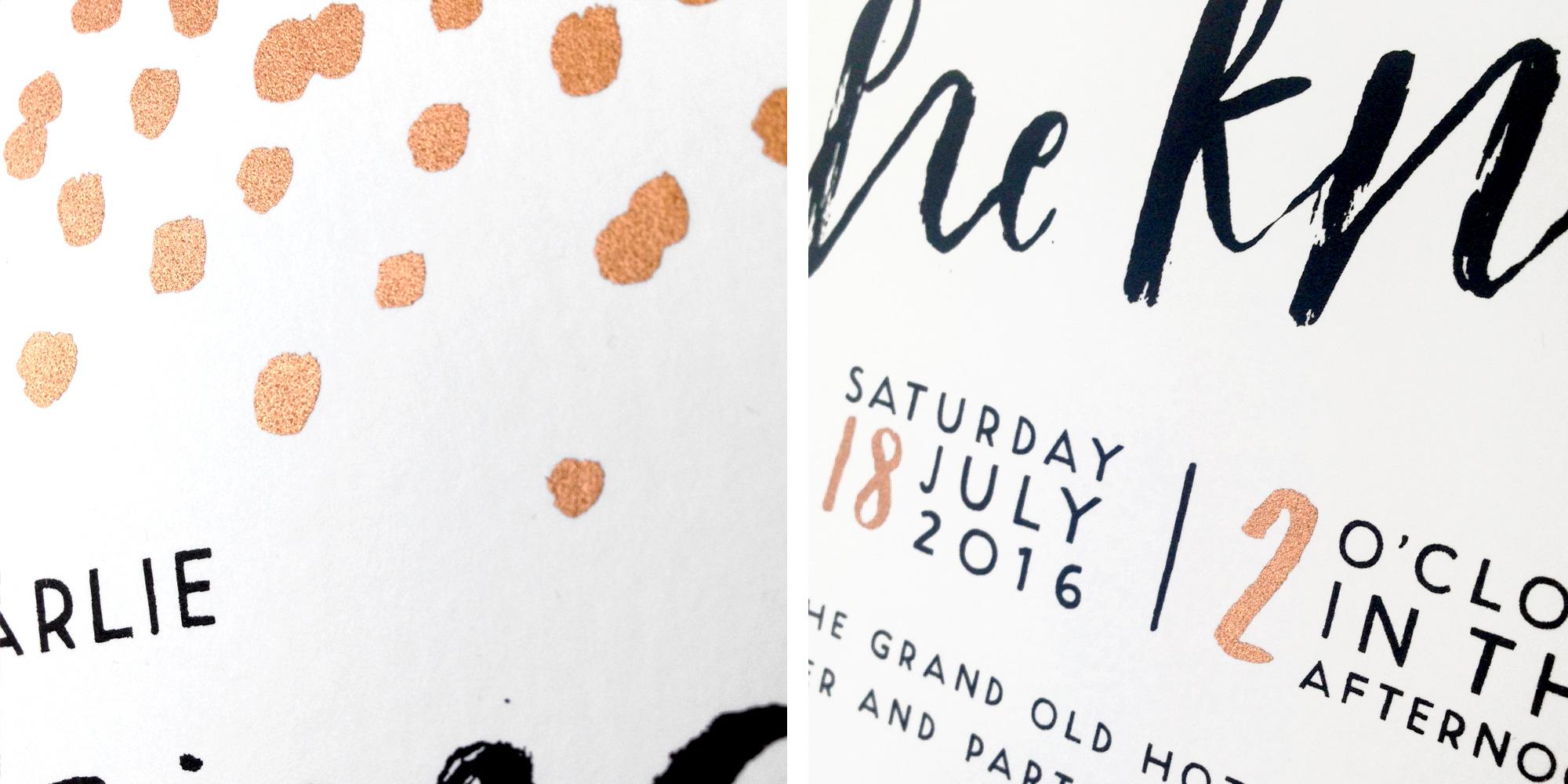 copper wedding invite
