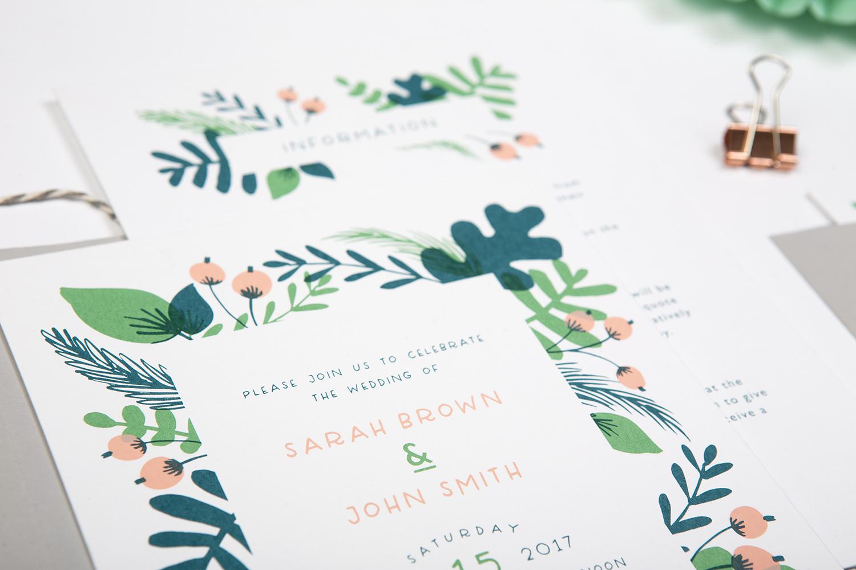 foliage wedding invite