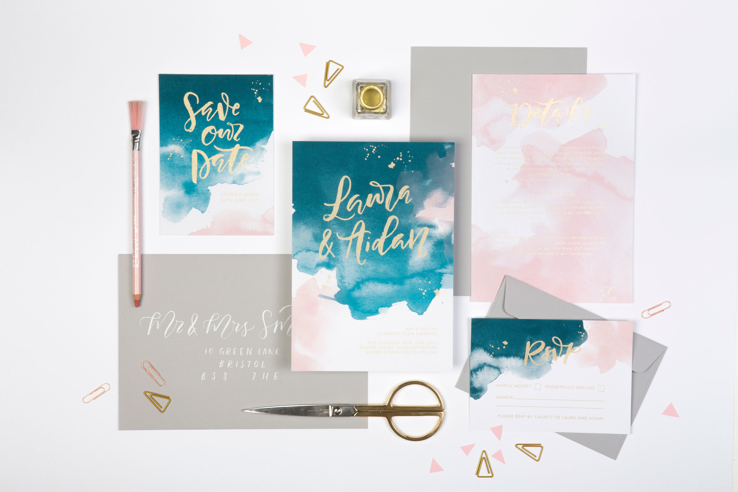 blue and blush pink watercolour invites with gold handlettering