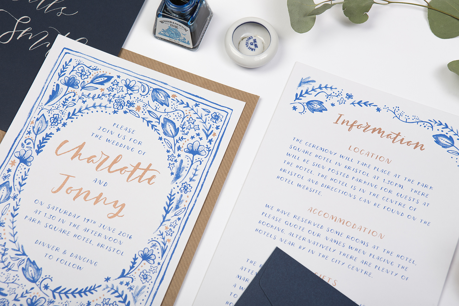 white and blue wedding invites