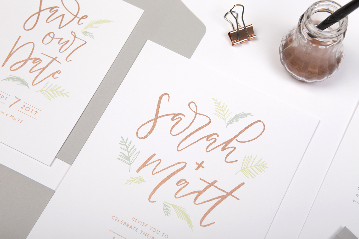 simple modern calligraphy wedding invites screen-printed in copper ink