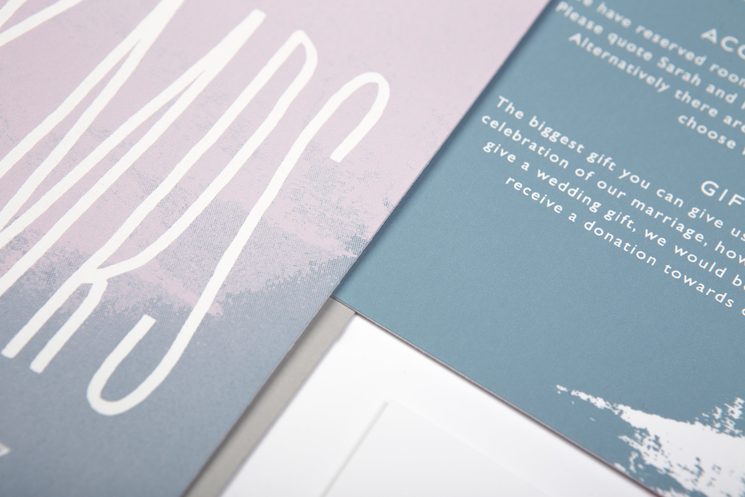creative screen-printed modern wedding invites