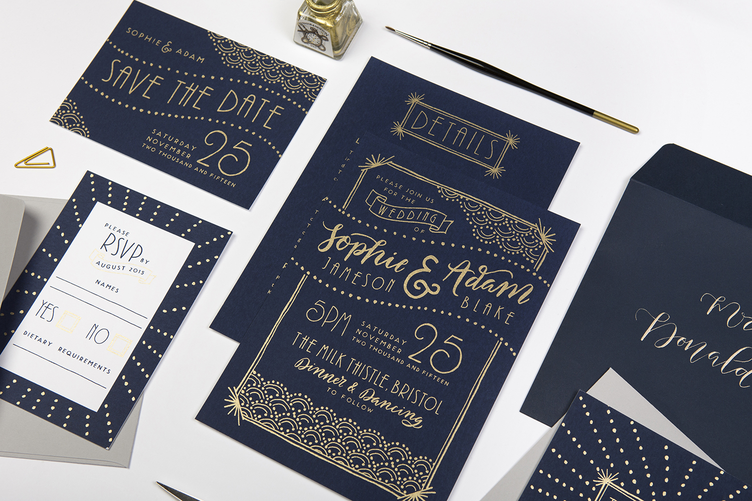 Navy and gold art deco wedding invites