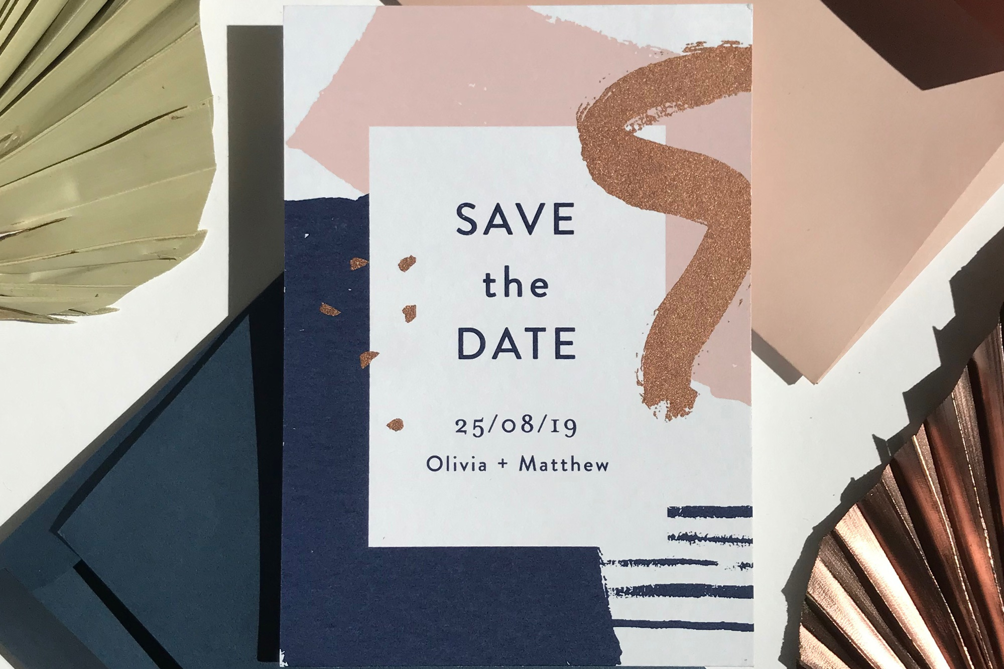 navy and blush save the date