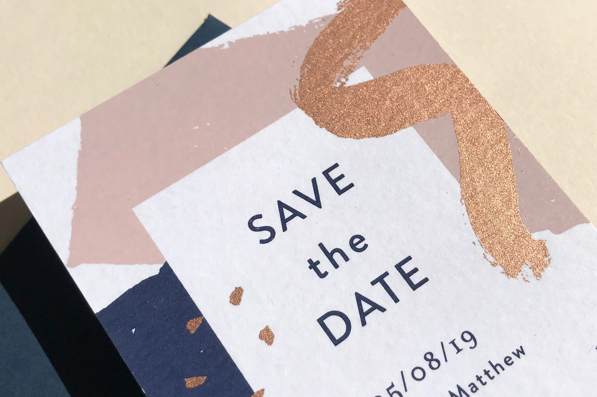 bush and rose gold copper wedding stationery design