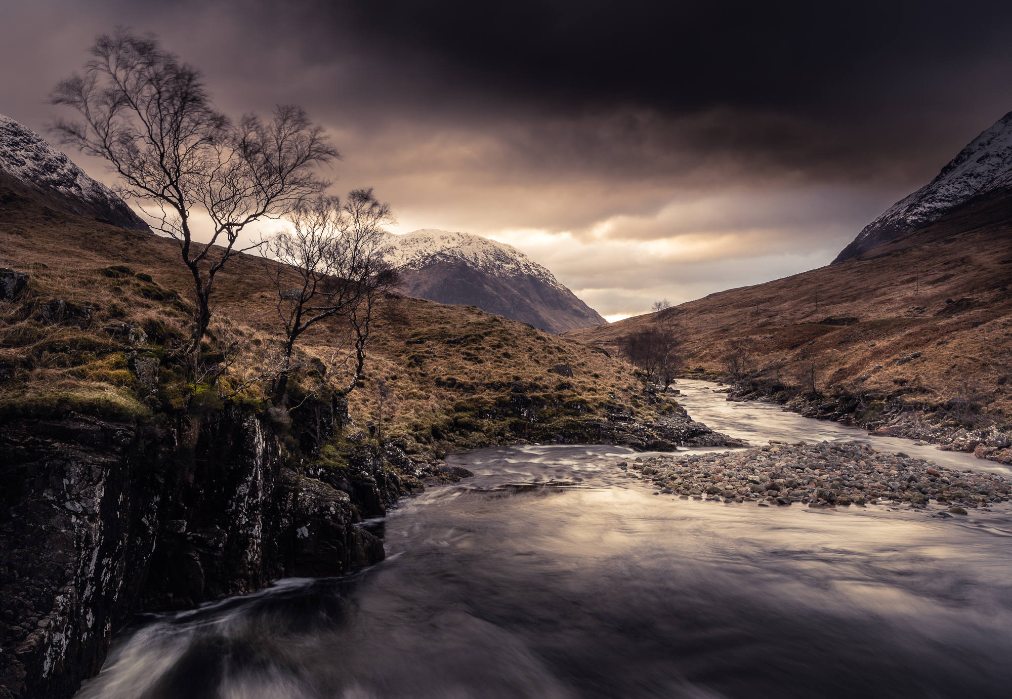 Storm gathering over River Etive