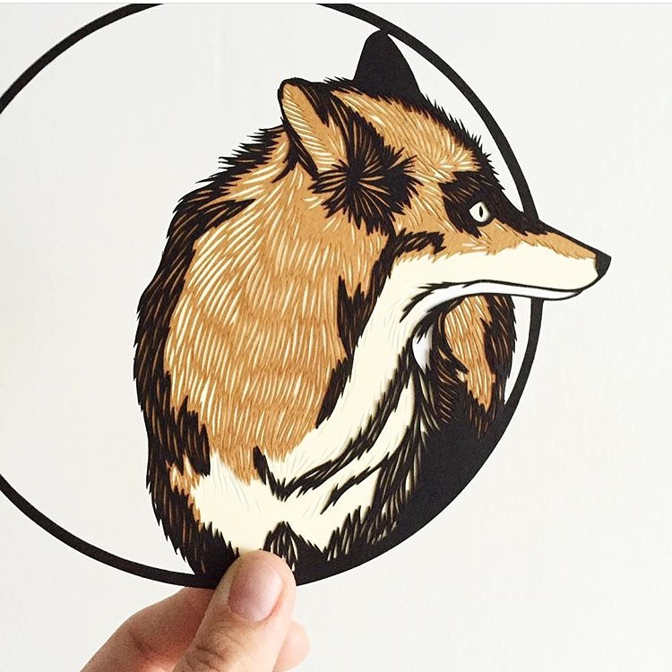 geometric fox: original papercut art by bird mafia artist, emily brown
