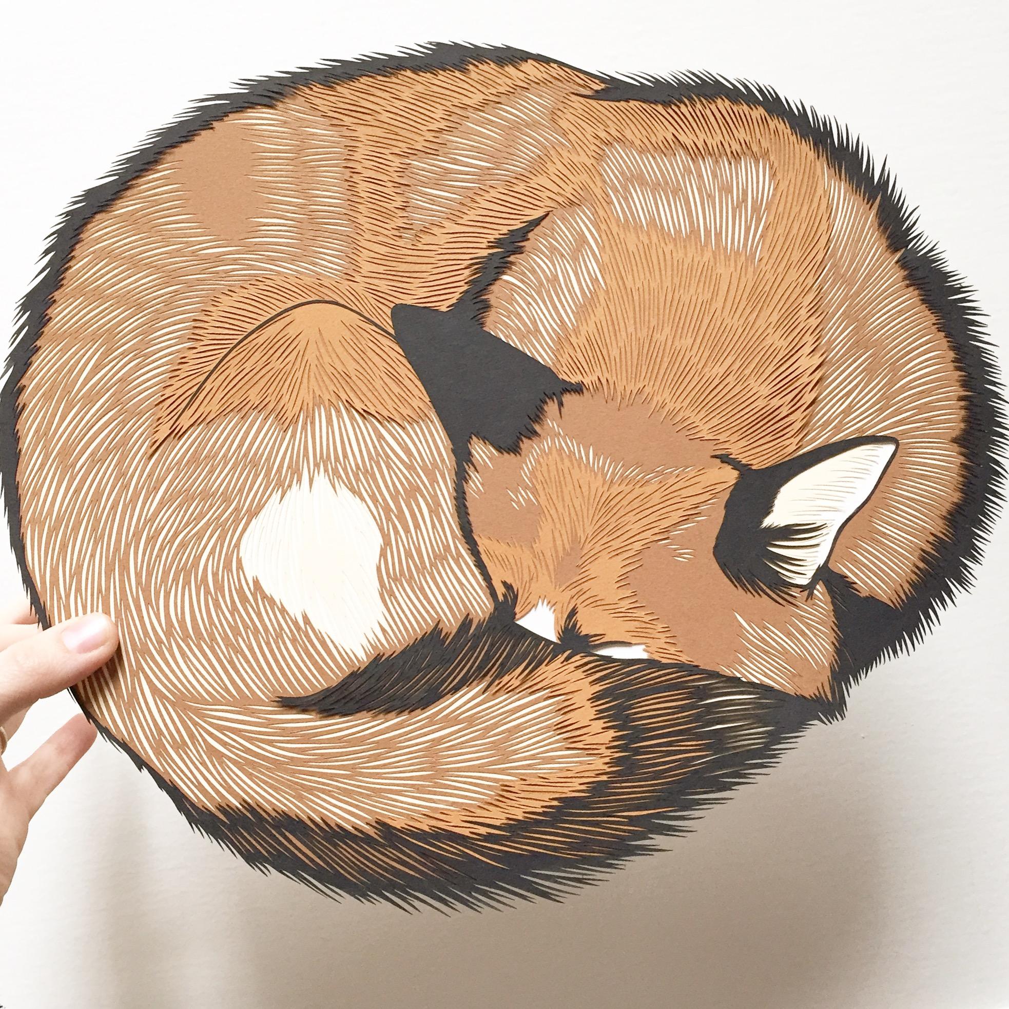 sleeping fox: original papercut art by bird mafia artist, emily brown