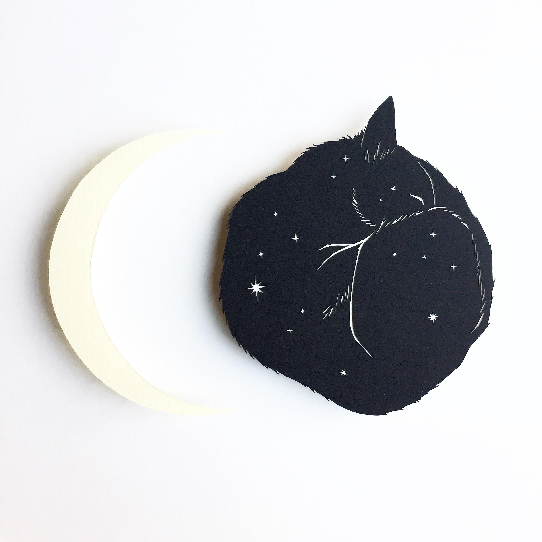 cat and moon: original papercut art by bird mafia artist, emily brown