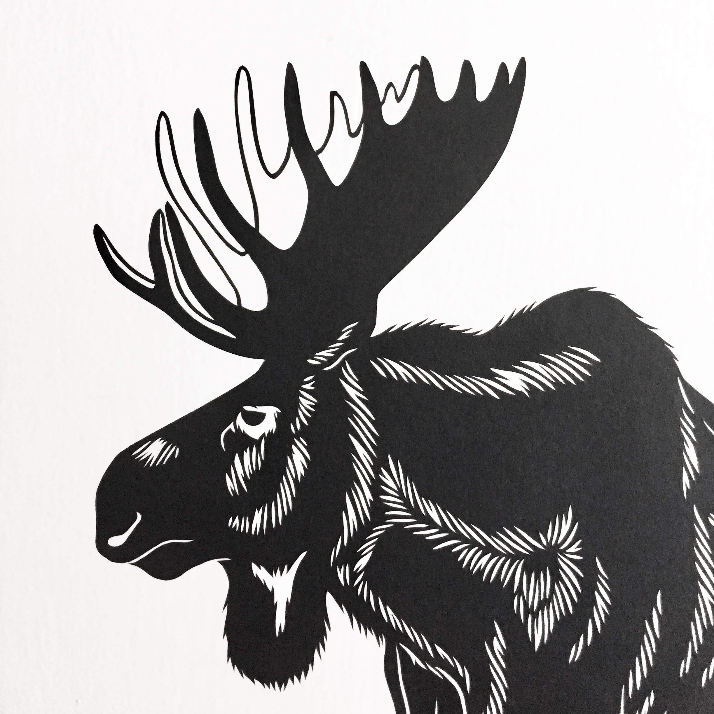 moose: original papercut art by bird mafia artist, emily brown