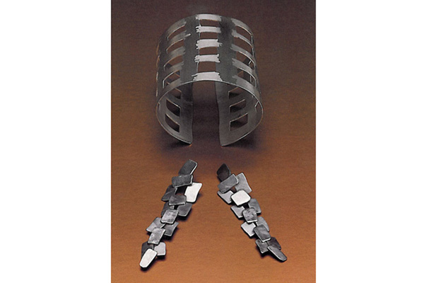 Cuff and Earrings,   1992, sterling silver, 3x2x2.75 inches (cuff) and 3.5x1 inches (earrings)