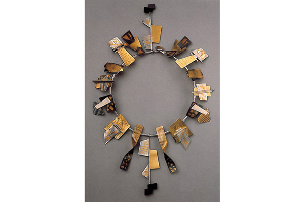 Necklace  , 1988, sterling silver, 18k gold, 24k gold overlay and Hishi beads