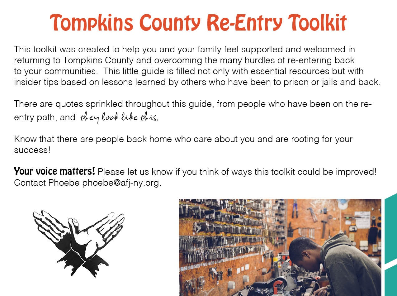 Featured Resource: - Check out the TC Reentry Toolkit, a collection of tips and resources developed by and for people returning from incarceration.Click here to learn more!