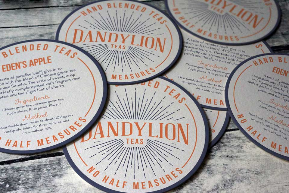 Dandylion teas, Ditto Creative, logo design Kent, Produced in Kent