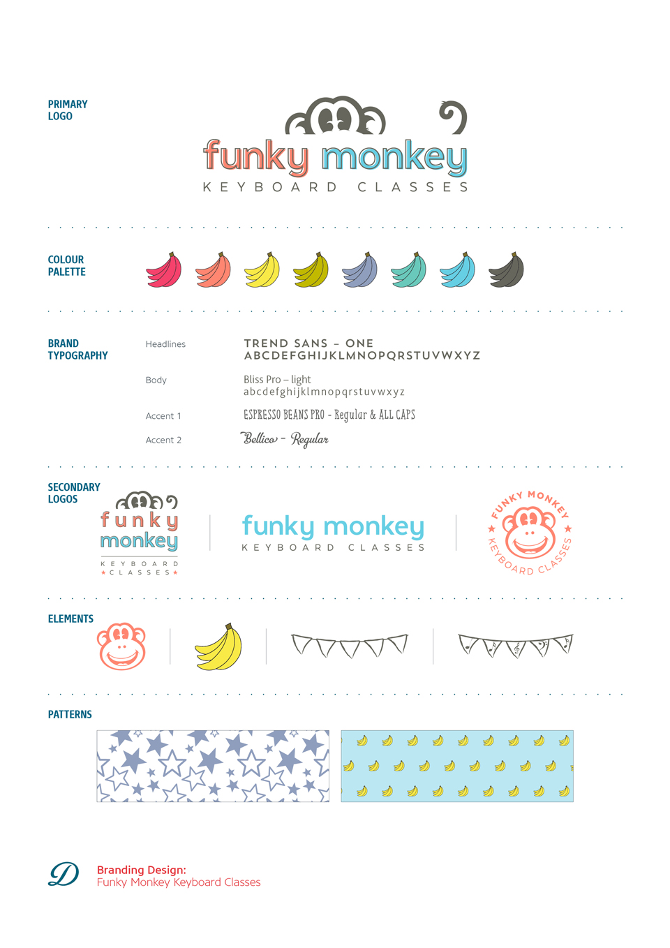 Funky Monkey Keyboard Classes logo design, branding and brand styling by Ditto Creative, Kent