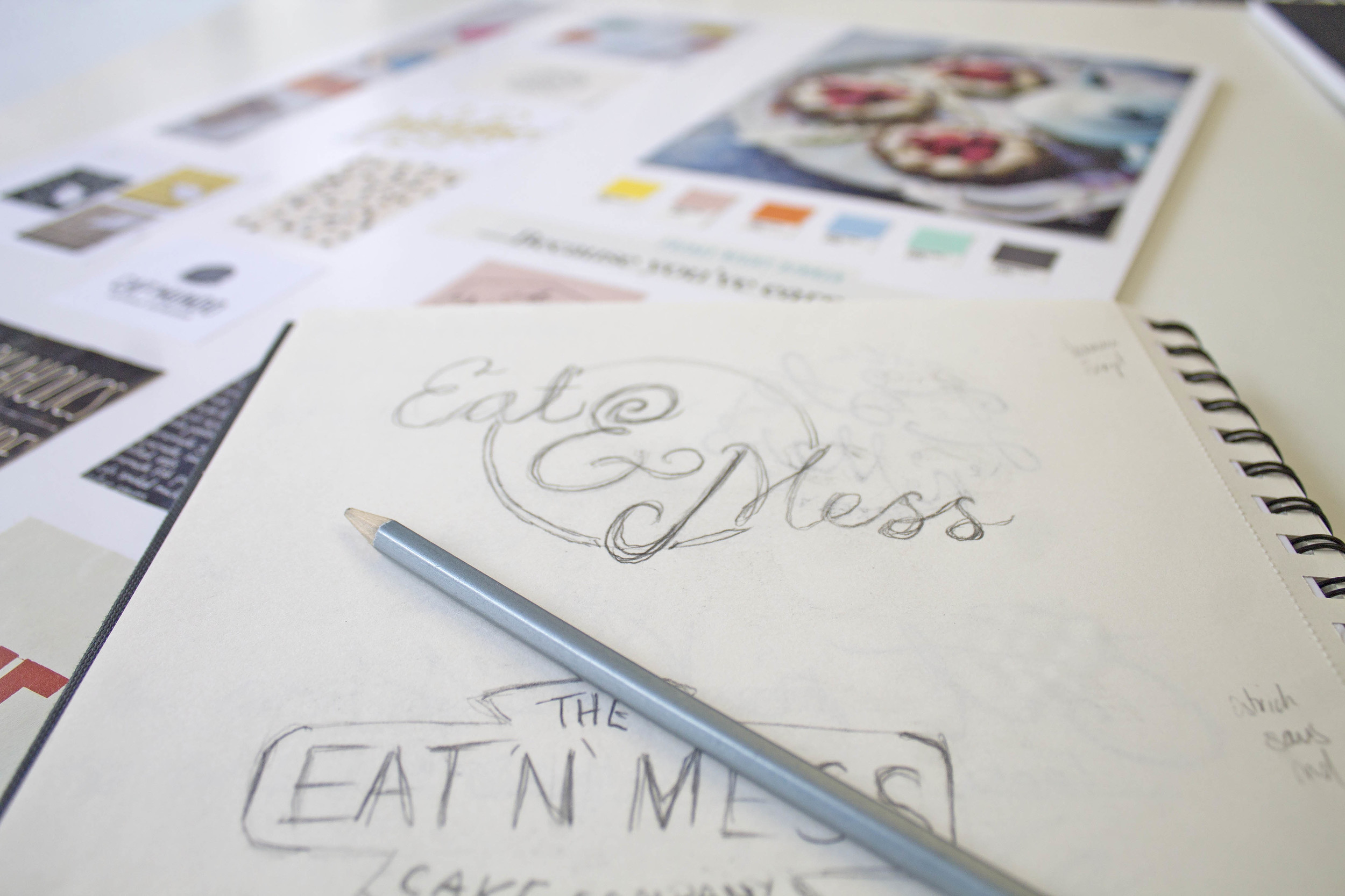 Eat N Mess gluten free cake shop logo design by Ditto Creative branding agency Kent