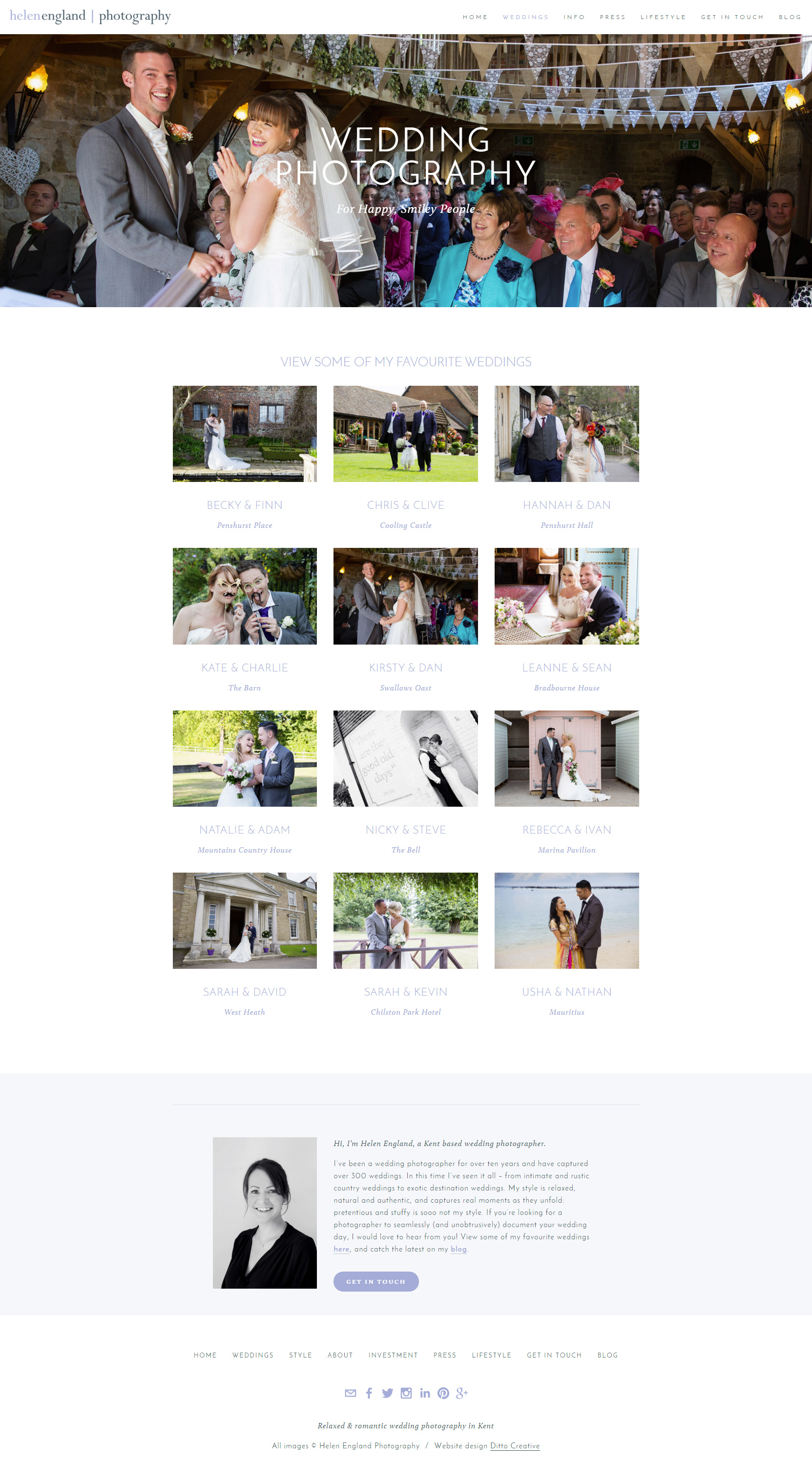 Helen England Photography Website design by Ditto Creative, Kent