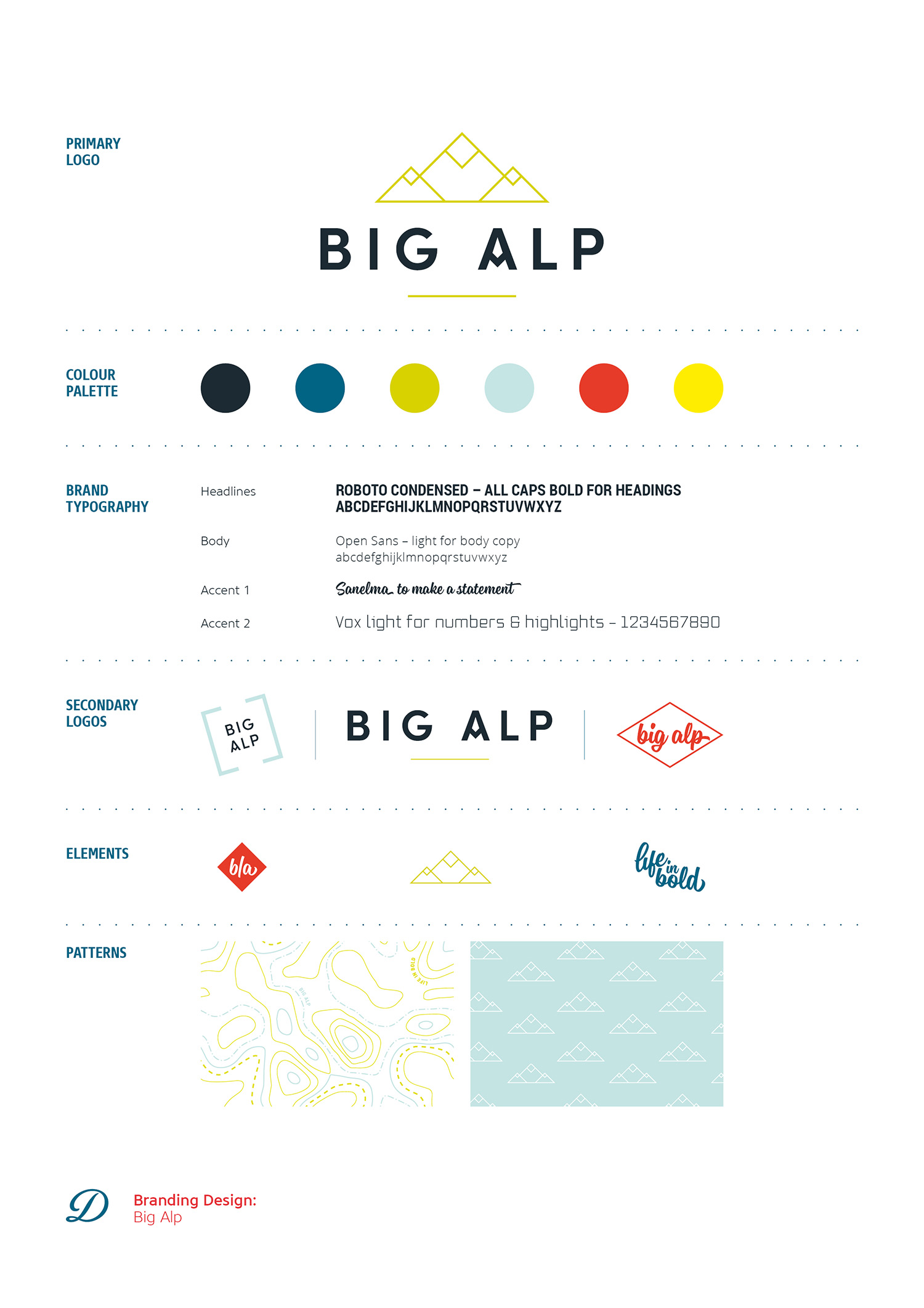 Branding and logo design for Big Alp by Ditto Creative branding agency Kent Big Alp brand board