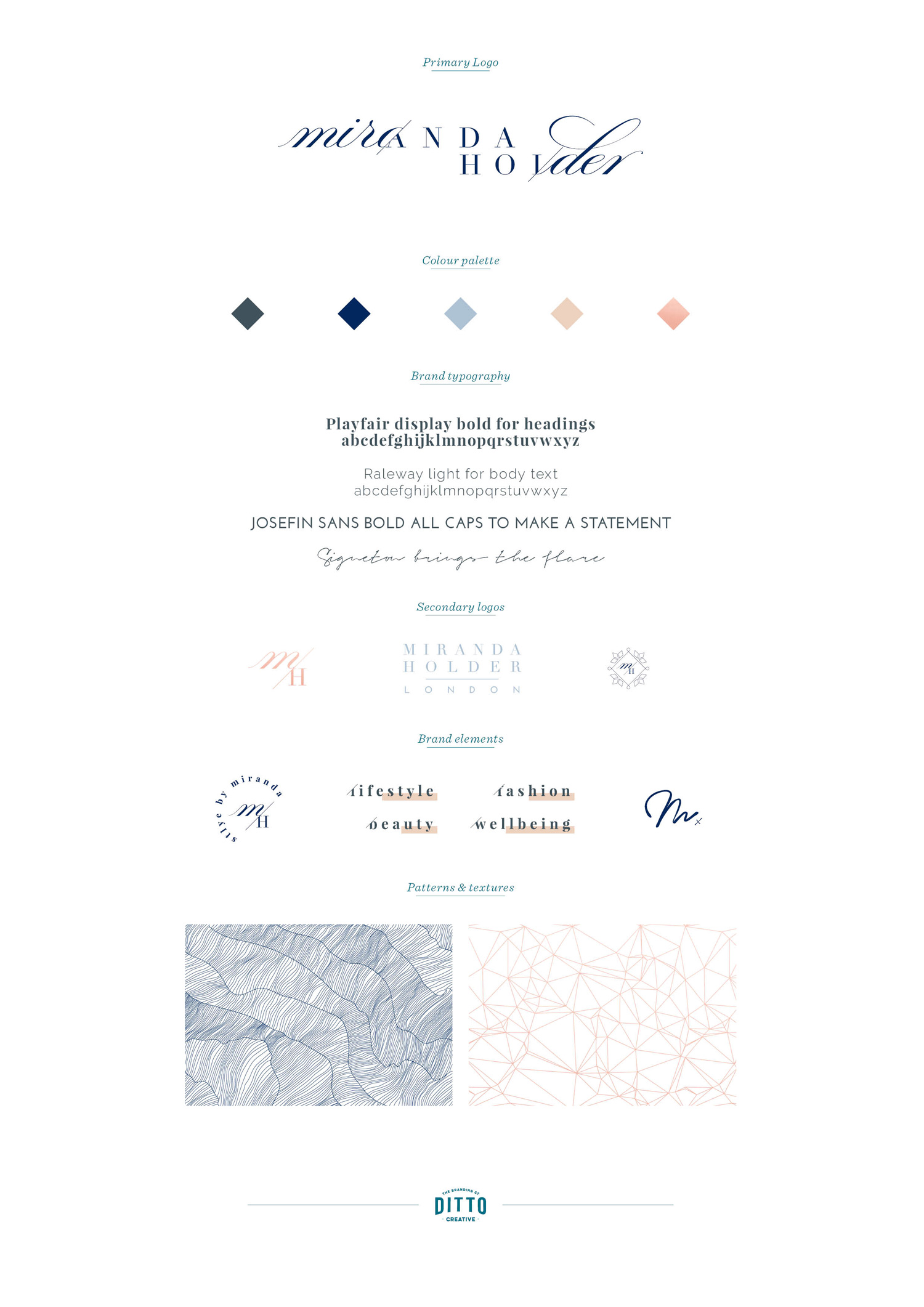 Miranda Holder London, high end fashion stylist and personal stylist, logo design and brand identity by Ditto Creative, Kent