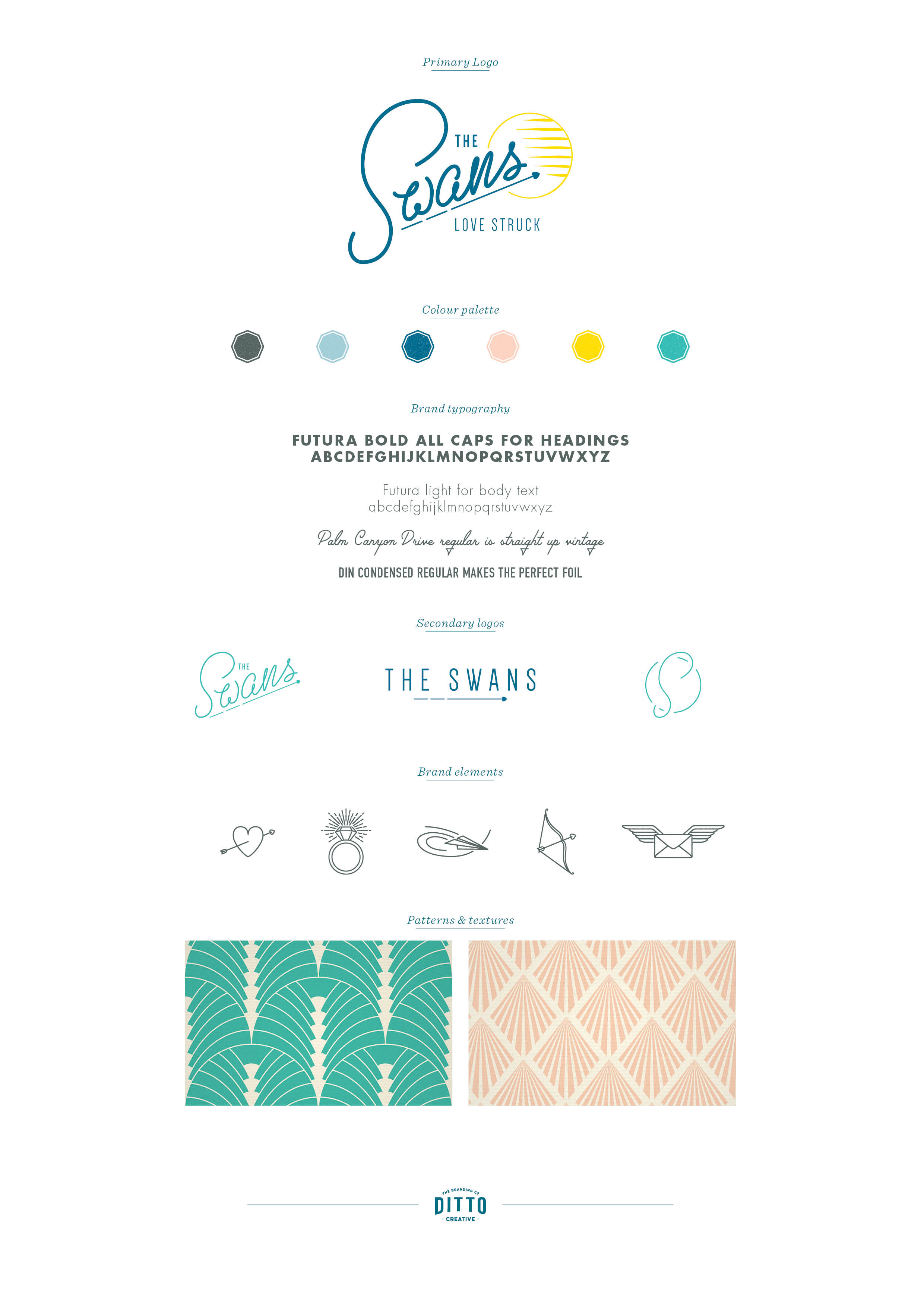 The Swans wedding photography in Kent, logo design and brand styling by Ditto Creative, boutique branding agency in Kent, The Swans brand board