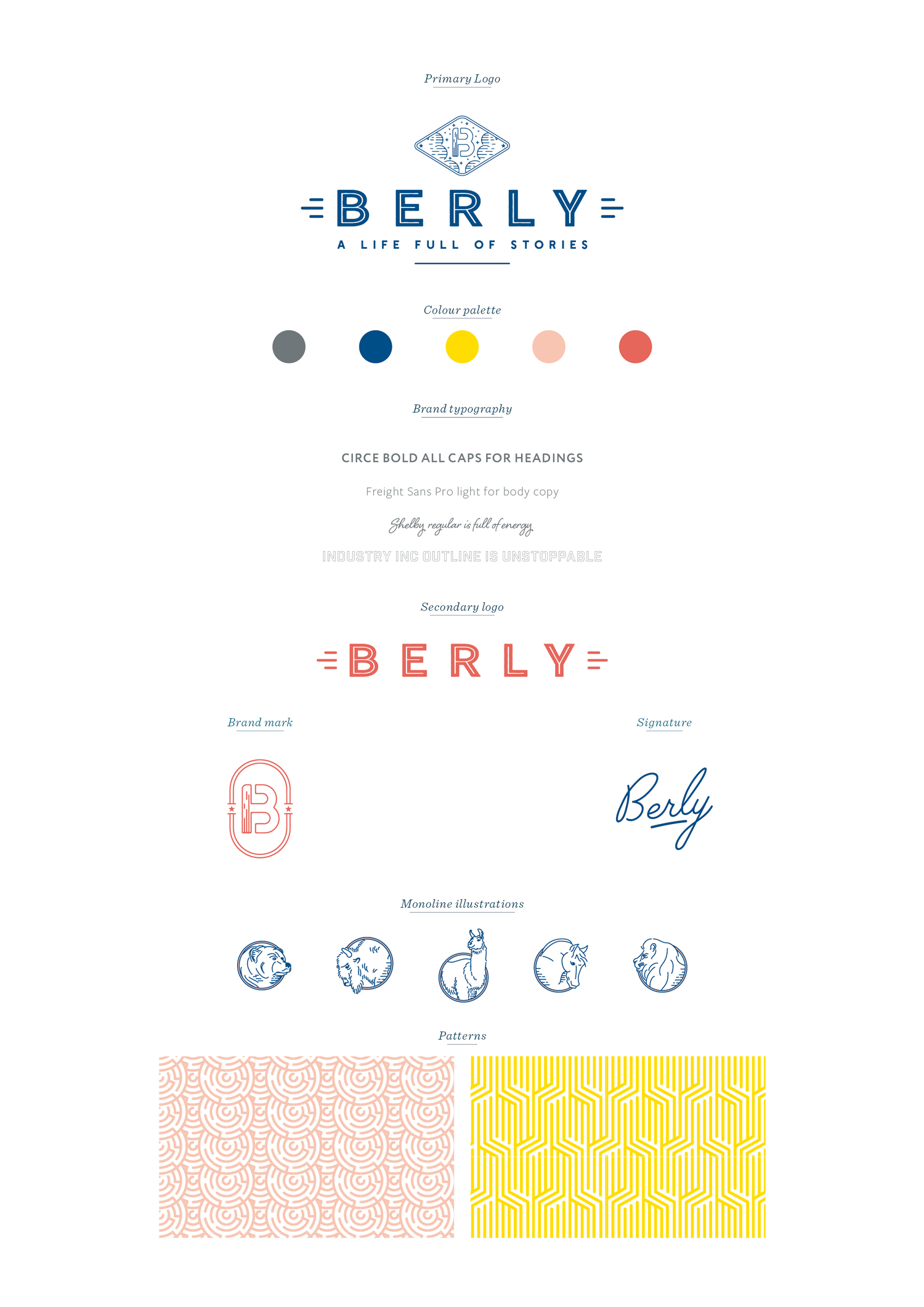 Brand board for Belry. Logo design and brand identity for California video agency Berly, branding by Ditto Creative, boutique branding agency Kent