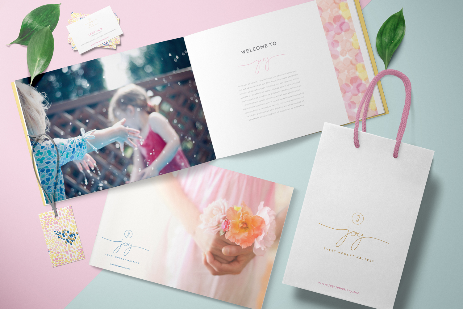 Joy brand board, logo design and brand identity by Ditto Creative brand consultants and branding agency in Kent, UK