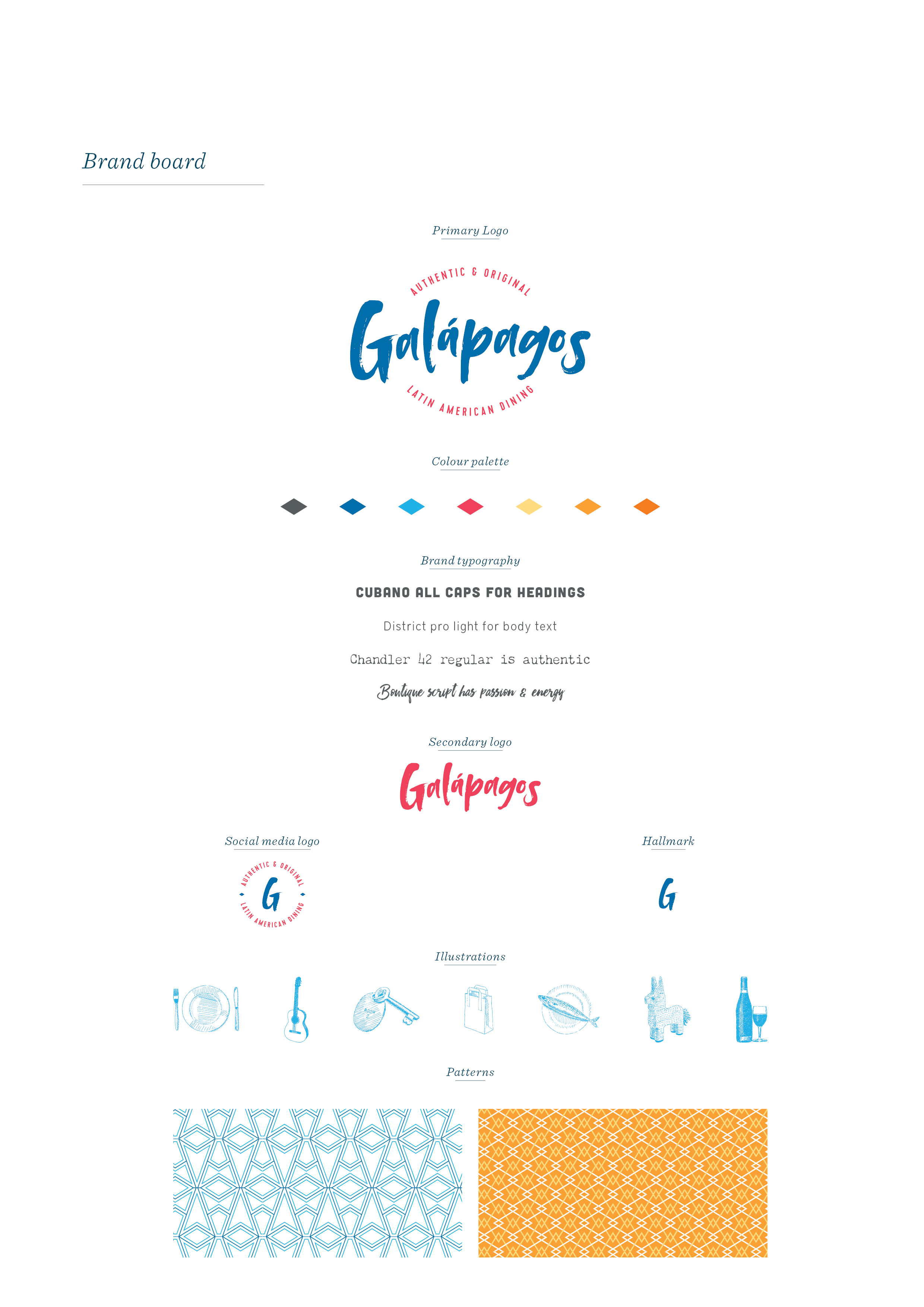 Galapagos Latin American Restaurant, Kent, logo design and brand identity by Ditto Creative, boutique branding agency, Kent