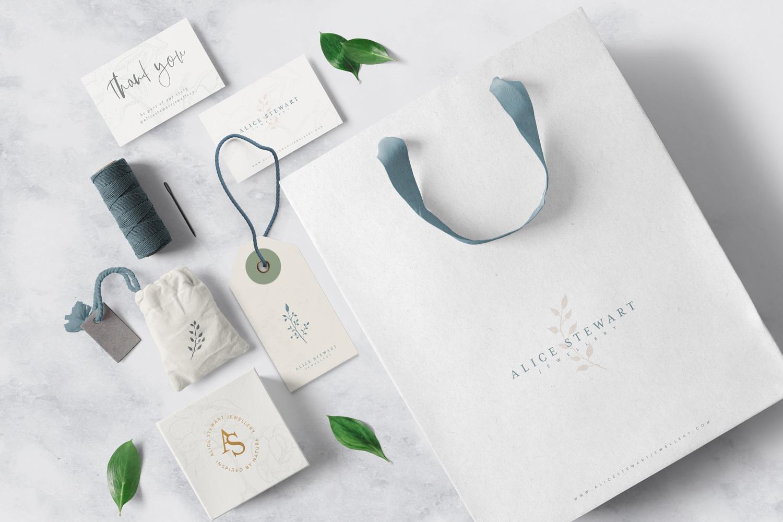 Alice Stewart Jewellery branding mockup using elements from branding identity suite