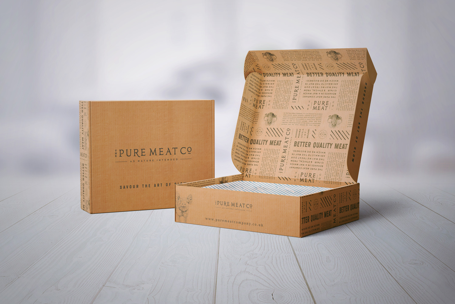 The Pure Meat Company brand identity and logo design by Ditto Creative, branding agency for small businesses in Kent